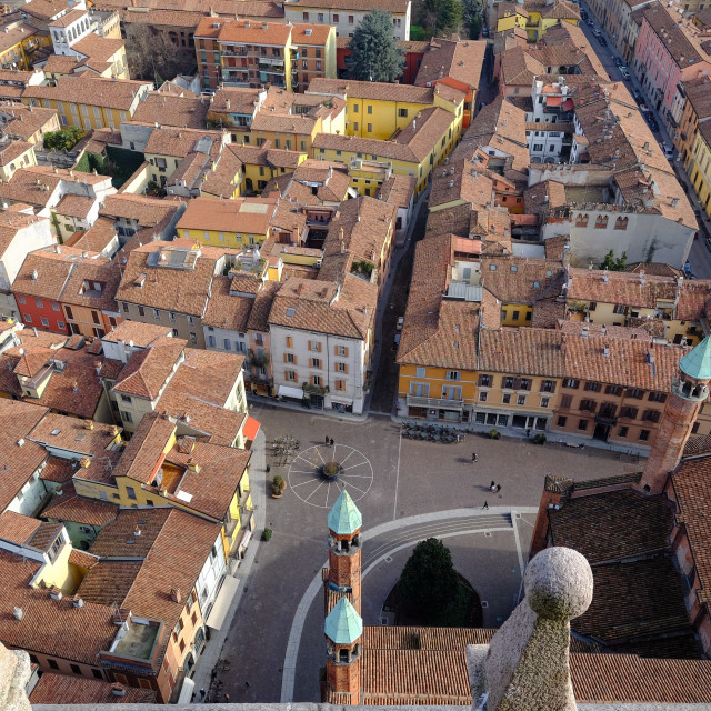 """View of Cremona from the Torrazzo, the bell tower of the Cathedral of..."" stock image"