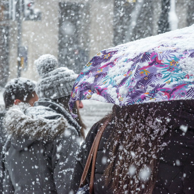 """""""UK, England, London, The West End, Piccadilly during snowstorm"""" stock image"""