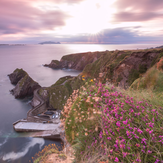 """Sunset on Dunquin pier (Dún Chaoin), Dingle peninsula, County Kerry, Munster..."" stock image"