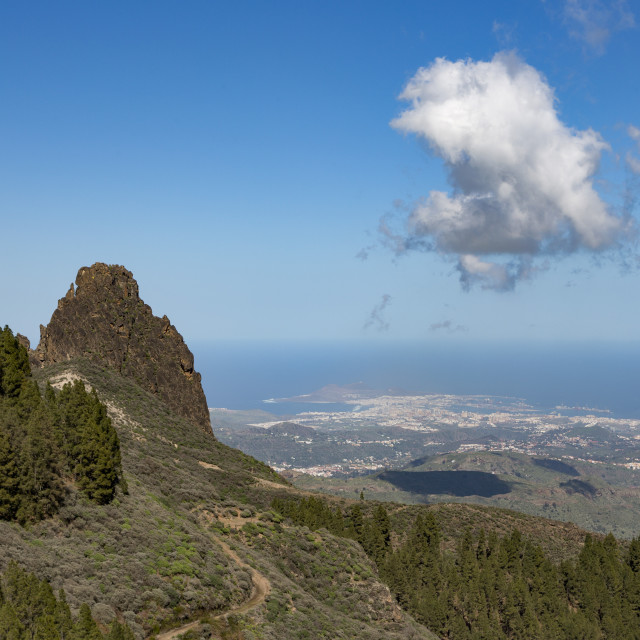 """High view of Las Palmas de Canaria from near Pico de las Nieves"" stock image"