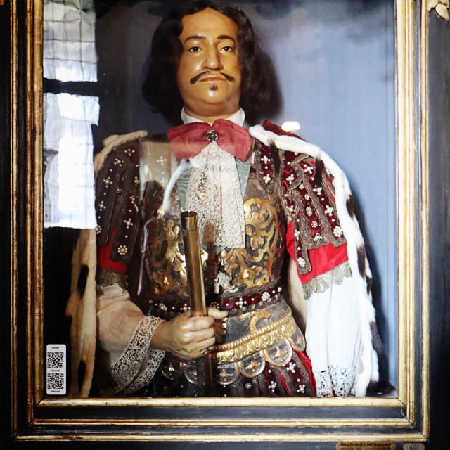 """""""COPENHAGEN, DENMARK - Rosenborg castle, wax bust of king Frederik III"""" stock image"""