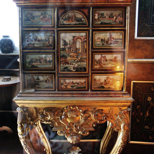 """""""COPENHAGEN, DENMARK - Rosenborg castle, baroque cabinet"""" stock image"""