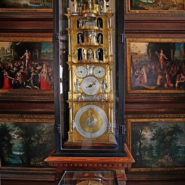 """""""COPENHAGEN, DENMARK - Rosenborg castle, astronomical clock"""" stock image"""