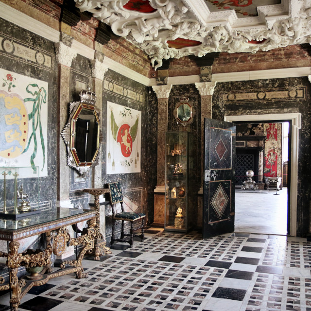 """COPENHAGEN, DENMARK - Rosenborg castle, the Marble Room"" stock image"