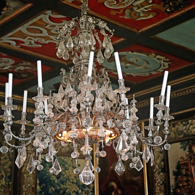 """COPENHAGEN, DENMARK - Rosenborg castle, chandelier of rock crystal"" stock image"