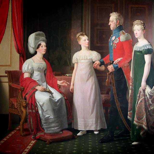 """""""COPENHAGEN, DENMARK - Rosenborg castle, painting of the royal Danish family in 1821"""" stock image"""