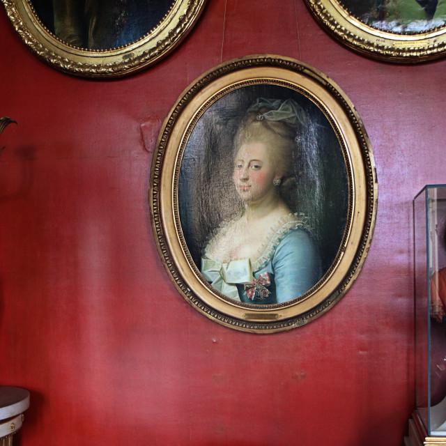"""""""COPENHAGEN, DENMARK - Rosenborg castle, Christian VII's Room, detail"""" stock image"""