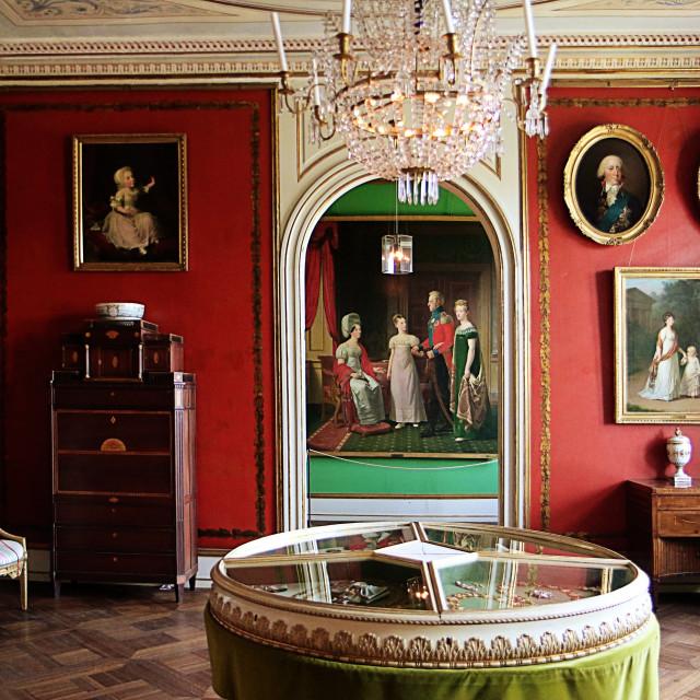 """""""COPENHAGEN, DENMARK - Rosenborg castle, Christian VII's Room"""" stock image"""