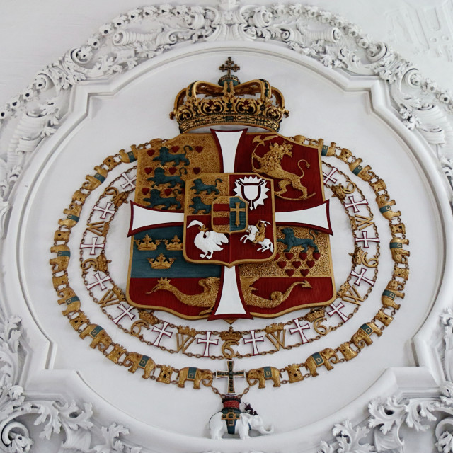 """COPENHAGEN, DENMARK - Rosenborg castle, Danish national coat of arms"" stock image"