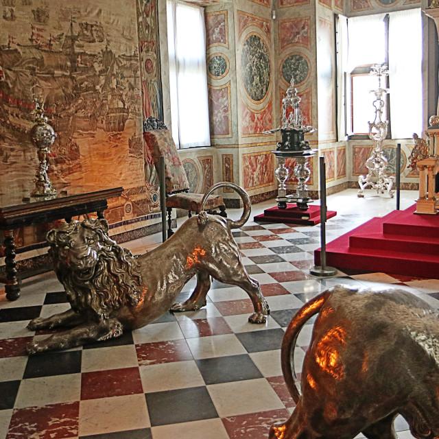 """""""COPENHAGEN, DENMARK - Rosenborg castle, silver lions"""" stock image"""