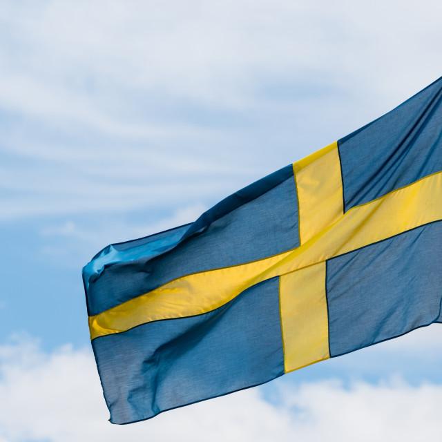 """Swedish flag waving in the wind"" stock image"
