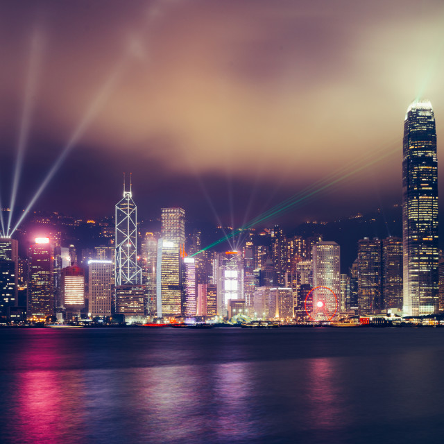 """Hong Kong skyline at night on Victoria Harbour"" stock image"
