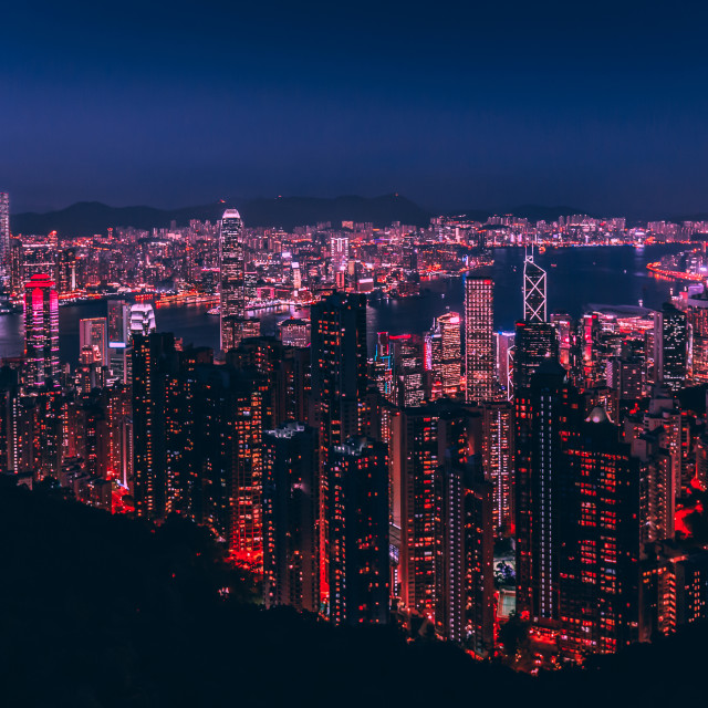 """Hong Kong skyline at night from Victoria Peak"" stock image"