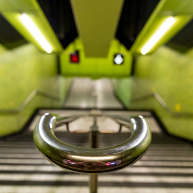 """Green MTR metro subway train station"" stock image"