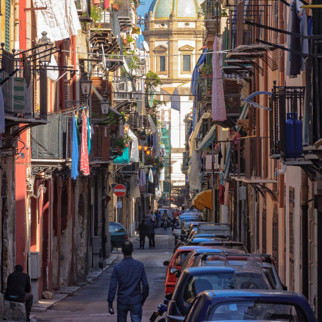 """Light at the End of the Street - Palermo"" stock image"