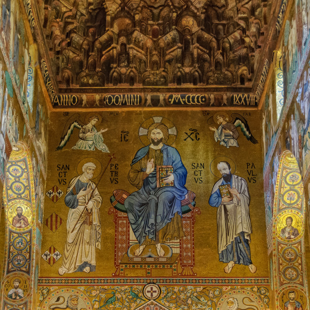 """""""Christ in Majesty with Peter and Paul - Palermo"""" stock image"""