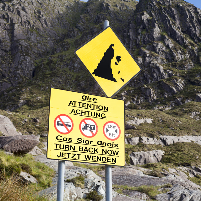 """""""warning sign at the conor pass"""" stock image"""