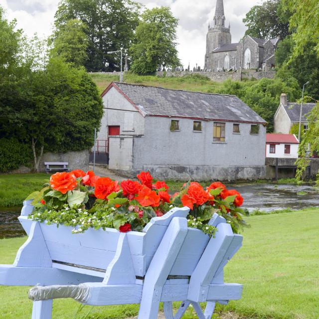 """wheel barrow flowers at castletownroche park"" stock image"