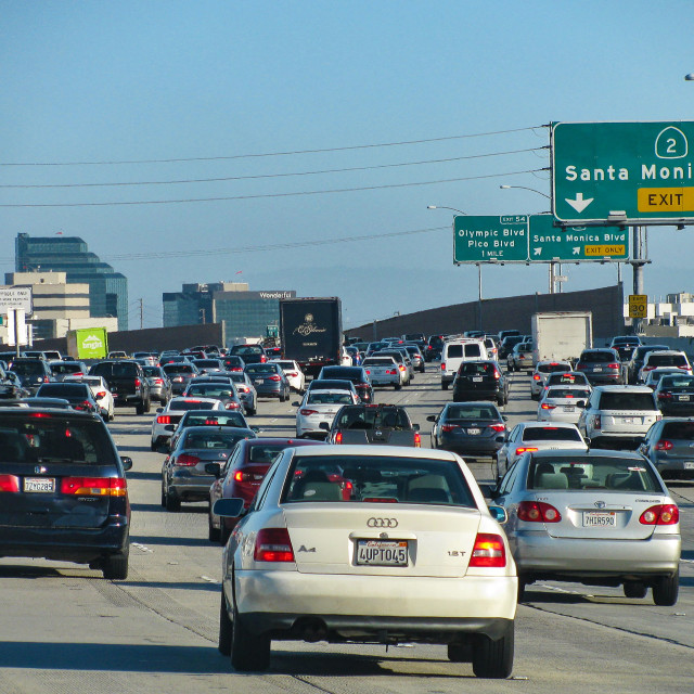 """""""Traffic on I-405, one of Southern California's busiest freeways"""" stock image"""