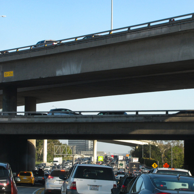 """""""Traffic jam on I-405, one of Southern California's busiest freeways"""" stock image"""
