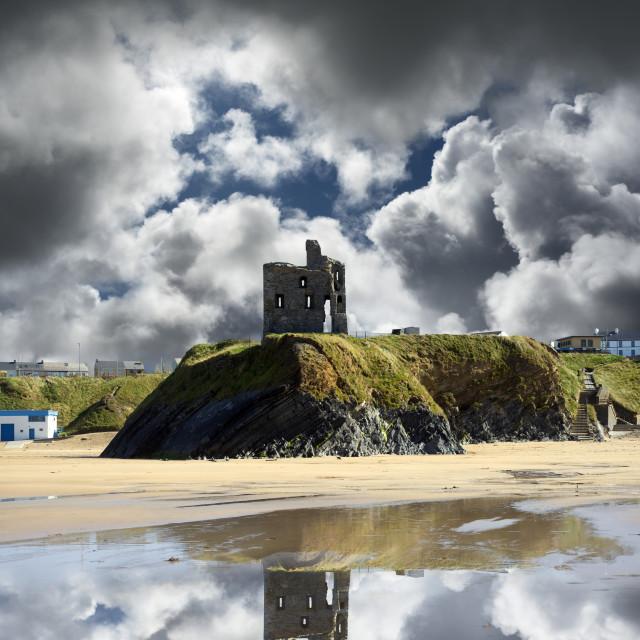 """wild atlantic way castle ruins and beach"" stock image"