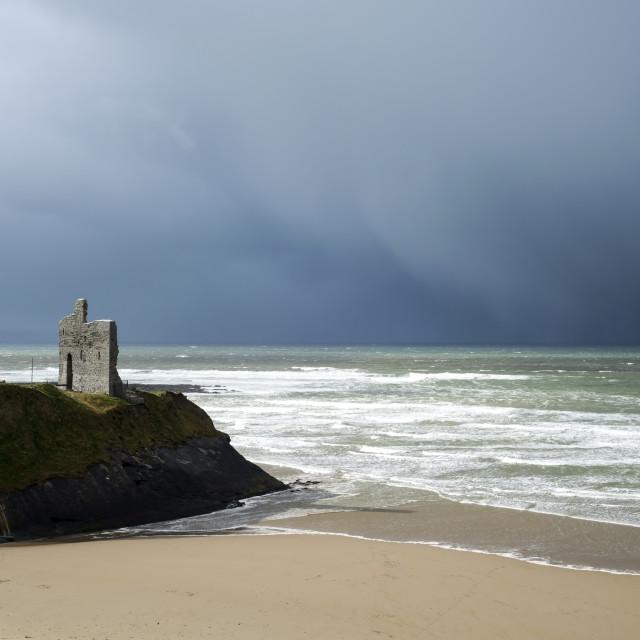 """winter rain storm approaching castle"" stock image"