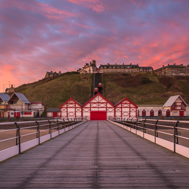 """Saltburn Pier at Sunrise"" stock image"