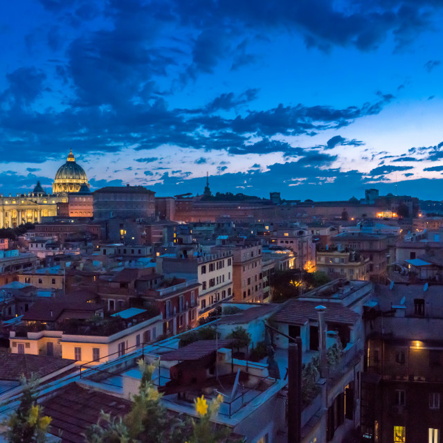 """view of Vatican and skyline of Rome at dusk."" stock image"