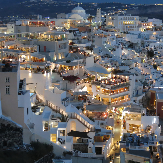"""Fira at night on Santorini"" stock image"
