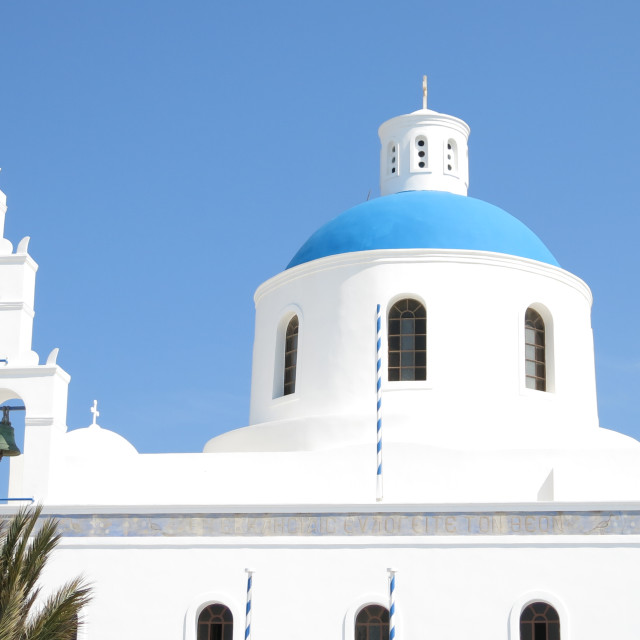 """Ekklisia Panagia Platsani church in Oia"" stock image"