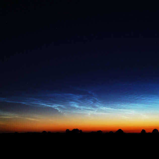 """Vibrant Noctilucent Clouds Phenomena"" stock image"
