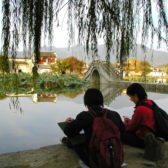 """""""Young art students in rural China"""" stock image"""