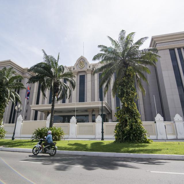 """CAMBODIA PHNOM PENH PEACE BUILDING"" stock image"