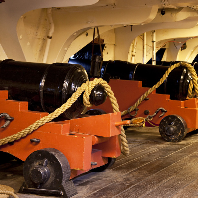 """""""Cannon on the historic USS Constitution """"Old Ironsides"""" in Boston harbor,..."""" stock image"""