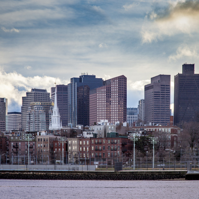 """""""View of Boston's North End across Charles River from Charlestown,..."""" stock image"""