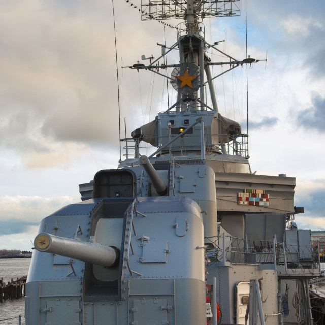 """""""Forward gun turrets on the USS Casin Young - a WWII destroyer, in Boston..."""" stock image"""