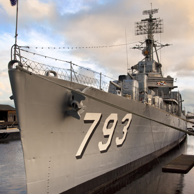 """""""USS Casin Young a destroyer from World War II in the Charlestown harbor,..."""" stock image"""