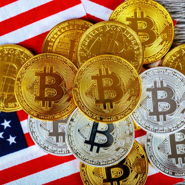 """Coin bitcoin on the American flag"" stock image"