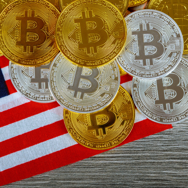 """Bitcoin on the Flag of USA. Cryptocurrency on of Flag of United States of..."" stock image"
