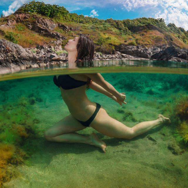 """Split Level Yoga Model And Mountain"" stock image"