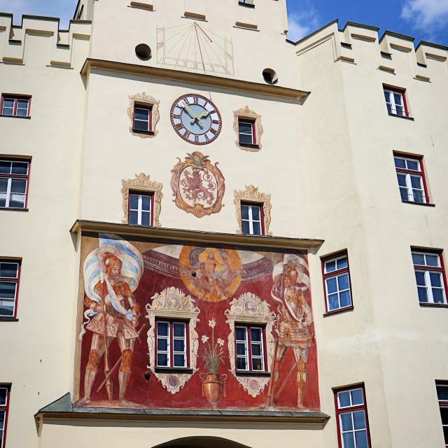 """Wasserburg am Inn, bridge gate, Upper Bavaria, Germany"" stock image"