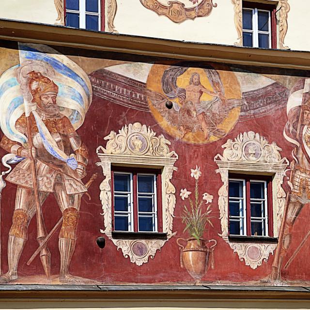 """Wasserburg am Inn, bridge gate fresco, Upper Bavaria, Germany"" stock image"