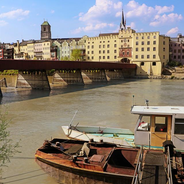 """Wasserburg am Inn, bridge on the river, Upper Bavaria, Germany"" stock image"