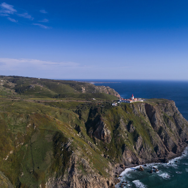 """Aerial view of the beautiful Roca Cape (Cabo da Roca) near Sintra, Portugal; Concept for travel in Portugal and best travel destinations."" stock image"