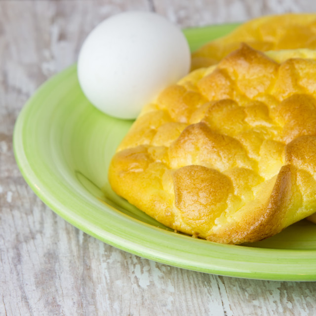 """""""Keto Egg Bread on a wood plank board for ketogenic diet"""" stock image"""