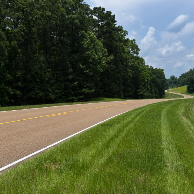"""View of the Natchez Trace Parkway in Mississippi; Concept for travel in America and road trip in America"" stock image"