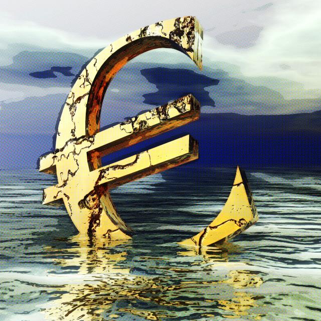 """Digital Illustration of the Euro Crysis"" stock image"