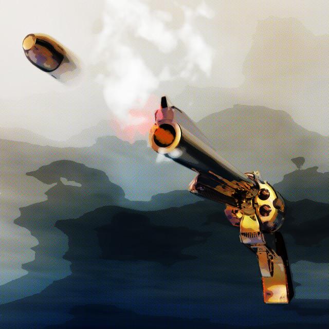 """Digital 3D Illustration of a Revolver"" stock image"