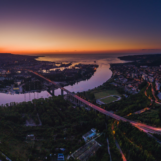 """Aerial panorama drone view of Asparuhov bridge and Varna city, Bulgaria"" stock image"