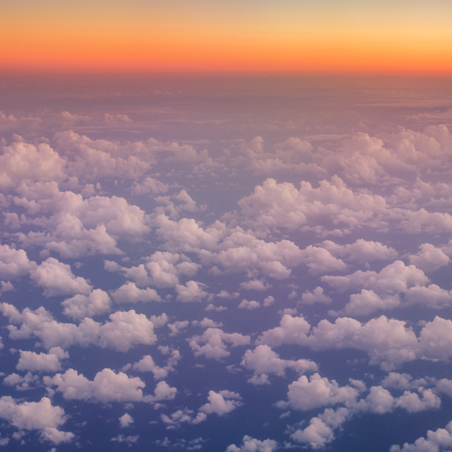"""""""Flying above the clouds. view from the airplane"""" stock image"""